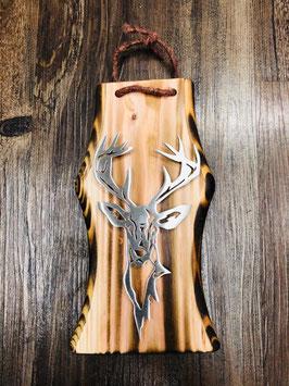 Rothirsch Ole auf Holz im Shabby Chic Style