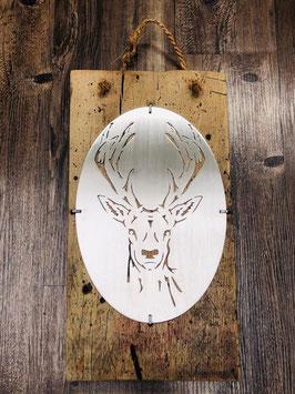 Rothirsch Leif auf Holz im Shabby Chic Style