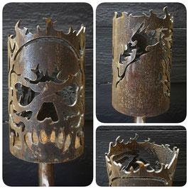 Fackel - Schädel mit Drachenkopf