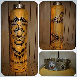 Feuertonne - Löwe mit Löwe liegend inkl. Ascheklappe & Krone