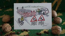 Grußkarte Radfahrer absteigen