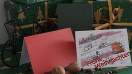 """Grußkarte """"Frohe Weihnachten"""" - Radeln im Winter"""