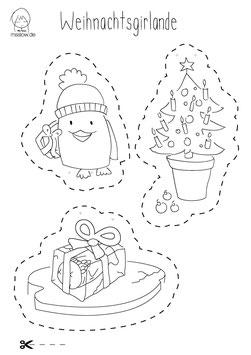 Weihnachtsgirlande 2 Bögen DINA 4 mit Weihnachtsmotiven