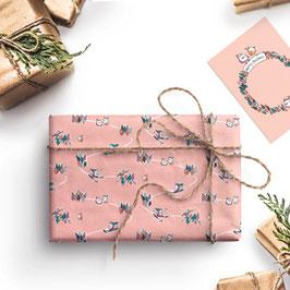 3 Bögen-X-Mas Zwitschern Geschenkpapier