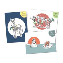 """Postkartenset  Weihnachten """"HappyHolidays!'"""