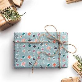 3 Bögen Sterne Geschenkpapier