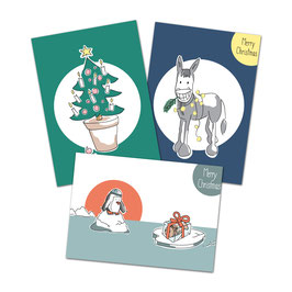 """Postkartenset Weihnachten """"Happy X-Mas'"""