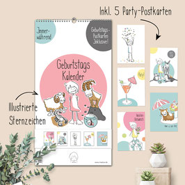 Immerwährender Geburtstags-Kalender mit Postkarten