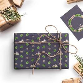 3 Bögen Esel & Ochse Weihnachts-Geschenkpapier