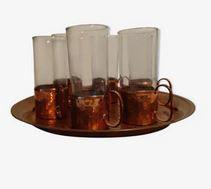 Service à liqueur ou alcools ou thé en verre et cuivre