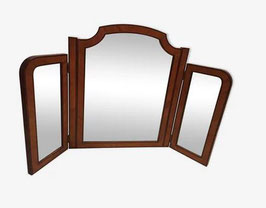 Grand miroir bois massif tryptique années 60