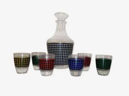 Service à liqueur vintage Vichy multicolore