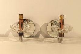 Paire d'appliques anciennes en verre et miroir bras torsadé vintage