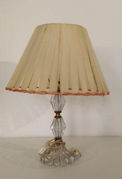 Lampe à poser vintage pied verre et laiton, abat jour ruban plastique