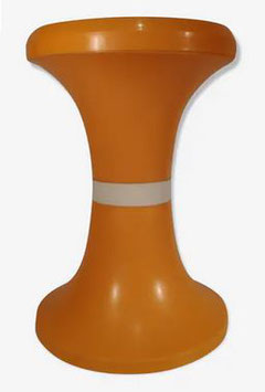 Tabouret Tam Tam vintage bicolore orange et bande blanche 1970