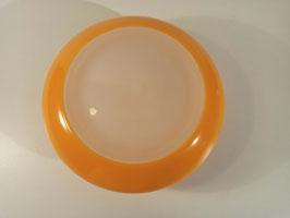 Plafonnier vintage 1970 Ekilux en verre orange et blanc
