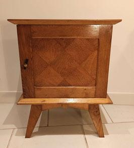 Chevet table de nuit vintage pieds compas et marquetteries bois massif