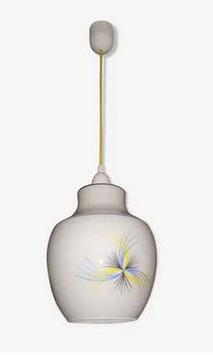Suspension en verre opalin blanc années 60
