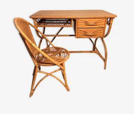 Bureau et sa chaise en rotin attribués Louis Sognot vintage années 50