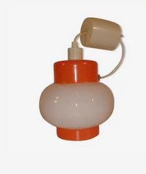 Suspension en verre blanc orange années 70