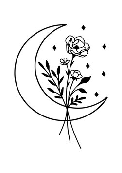 Personalisierung Boho Flower Moon