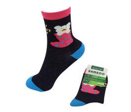 Mädchen Socken aus Bambus Viskose, Sweet Day, Gr. 28/31,  Farbe schwarz-türkis-pink