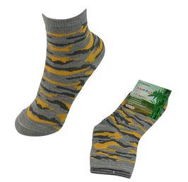 Socken für Jungs, Bambus Viskose, Tarndruck, Gr.  35/38, Farbe hellgrau-gelb