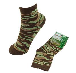 Socken für Jungs, Bambus Viskose, Tarndruck, Gr. 35/38, Farbe limette-braun