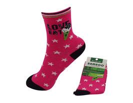 Mädchen Socken aus Bambus Viskose, Love Star, Gr. 32/35, Farbe pink-schwarz-weiß-hellgrün