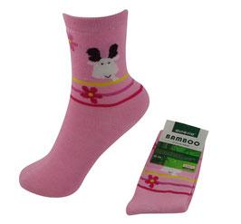 Mädchen Socken aus Bambus Viskose, Elch mit Blümchen in rosa, Gr. 24/27,  Farbe rosa-weiß-rot