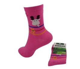 Mädchen Socken aus Bambus Viskose, Elch mit Blümchen in pink, Gr. 32/35, Farbe pink-weiß-rot