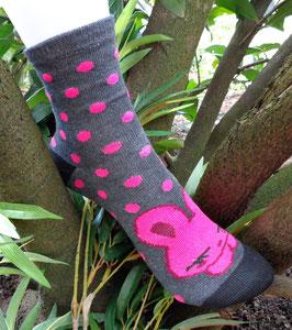 Mädchen Socken aus Bambus Viskose, Häschen mit Dots, Gr. 35/38, drei Farben