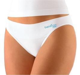 Damen Bambus Slip mit hohem Beinausschnitt, türkis, weiß, Gr. L/XL
