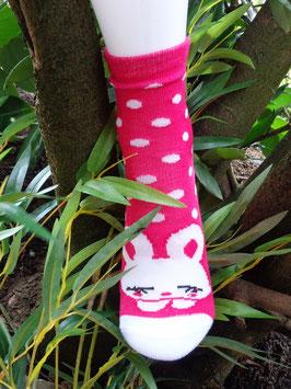 Mädchen Socken aus Bambus Viskose, Häschen mit Dots, Gr. 31/34, drei Farben