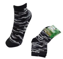 Socken für Jungs, Bambus Viskose, Tarndruck,  Gr. 27/30, Farbe grau-schwarz,