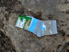 Jungs Socken aus Bambus Viskose,  Blockstreifen in türkis-grau, Gr. 27/30, 31/34, 35/38, türkis-graue Töne
