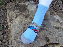 Socken für Jungs, Bambus Viskose, Auto mit Bärchen, Gr. 35/38, hellblau