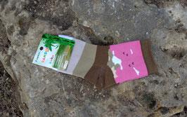 Mädchen Socken aus Bambus Viskose,  Blockstreifen in beige-braun, Gr. 31/34,  Farbe beige-braun-altrosa