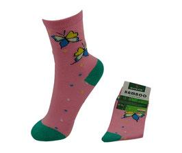 Mädchen Socken aus Bambus Viskose, Butterfly, Gr. 32/35, Farbe rosa-hellgrün