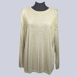 Feiner Pullover mit Perlchen, Gr. 44, beige/goldfarben