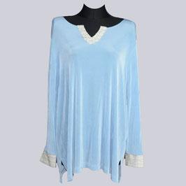 Slinky-Shirt mit Struktur, himmelblau, Gr. 48/50