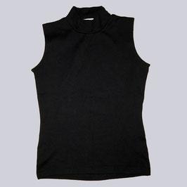 Stretch-Shirt mit Stehkragen, schwarz