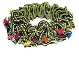 Elastisches Wirrwarr-Armband, grün/bunt