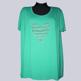 Elastisches Shirt mit Perlen-Herzchen