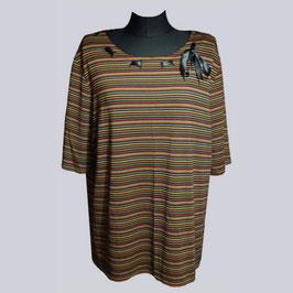 Tolles, elastisches Shirt mit Satin-Schleife, gestreift