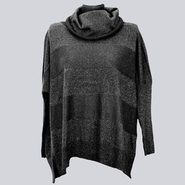 Schöner Lagenlook Pullover, Gr. M, schwarz/silber