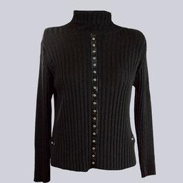 Pullover mit Lack-Einsätzen, schwarz, Gr. M
