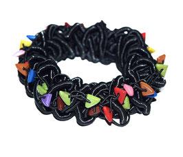Elastisches Wirrwarr-Armband, schwarz/bunt