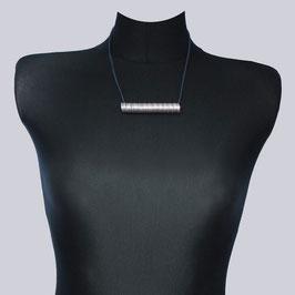 Samt-Halskette Jea Lona, dunkelblau, silberf./rosa