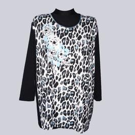 Schönes Leo Print Stretch-Shirt, Gr. XXL